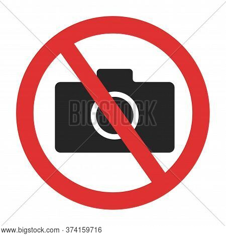 Photo Camera Forbidden. Banned Camera Crossed Simple Icon. Not Allowed To Take A Photos Sign