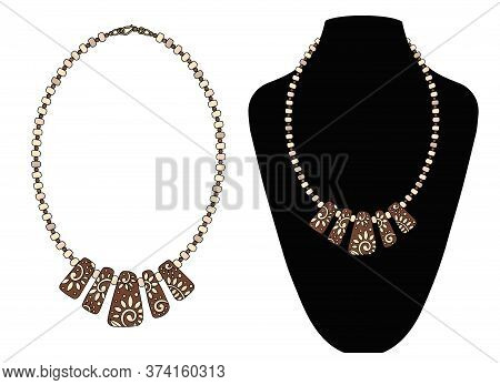 Necklace Made Of Wooden Beads With A Pendant. Vector