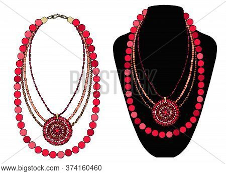 Bright Red Necklace With A Large Round Pendant. Vector