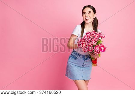 Portrait Of Her She Nice-looking Attractive Lovely Charming Cheerful Cheery Girl Holding In Hands Fe