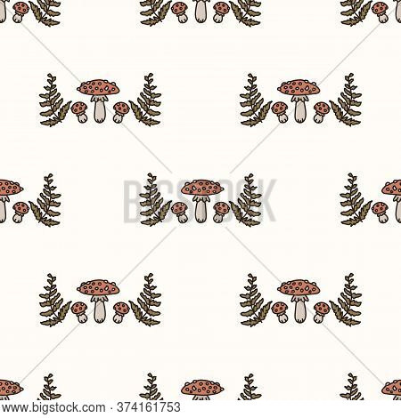 Seamless Background Toadstool And Fern Gender Neutral Baby Pattern. Simple Whimsical Minimal Earthy