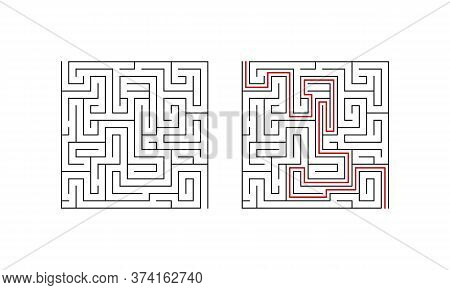 Labyrinth Maze Game For Children. Geometric Puzzle With Solution. Vector Illustration.