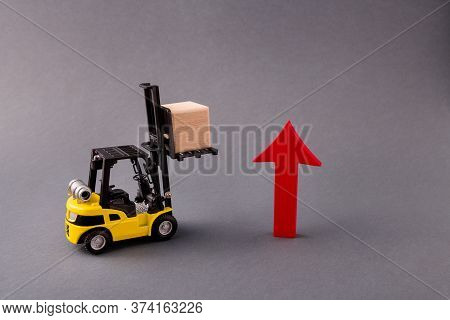 Photo Of Loader Delivering Bringing Wooden Cube Supply Management Arrow Pointing Up Sales Start-up S