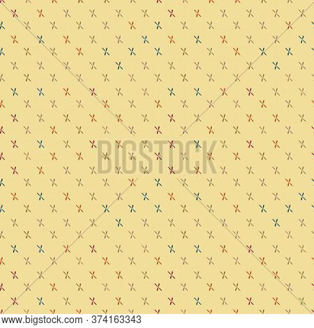 Simple Yellow Seamless Vector Pattern With Cross Shapes. Girly Surface Print Design For Backgrounds,