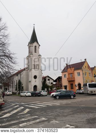 Gradiška / Bosnia And Herzegovina - March 7, 2020: Church Building Dedicated To Saint Roch Against O