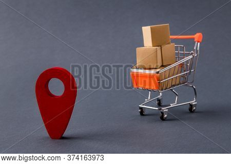 Photo Of Store Pushcart Carrying Carton Boxes Delivering Order Home Gps Marker Direct Address Market