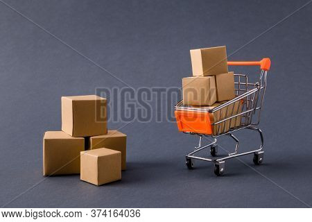 Photo Of Store Pushcart Carrying Carton Boxes Delivering Fast Service Order Client E-commerce Isolat