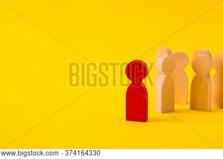 Faceless Wooden Figures Of People Gathering Community Following Their Leader Inspiring Experience Is