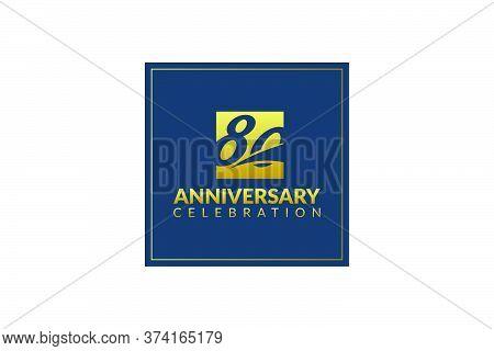 Gold 80 Years Gold Anniversary Celebration Logo, Isolated On White Background