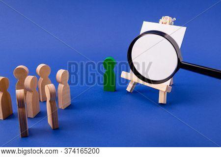 Wooden Figures Of Pupils Students Listening To Presenter Professor In Classroom Class Loupe Enlargin
