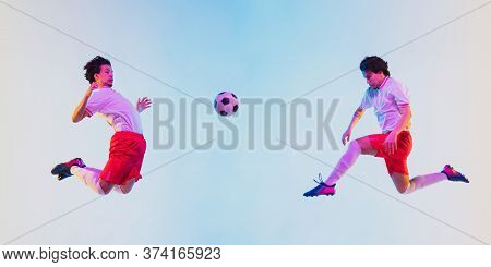 Kicking In Jump, On The Run. Football Or Soccer Player On Gradient Background In Neon Light - Motion