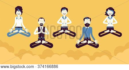 Office Yoga Group Of Business People Practicing Meditation, Floating In Calm Sky, Doing Padmasana Po