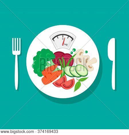 Balanced Diet. Healthy Nutrition. Fresh Vegetables On White Plate, Fork And Knife. Vector Illustrati