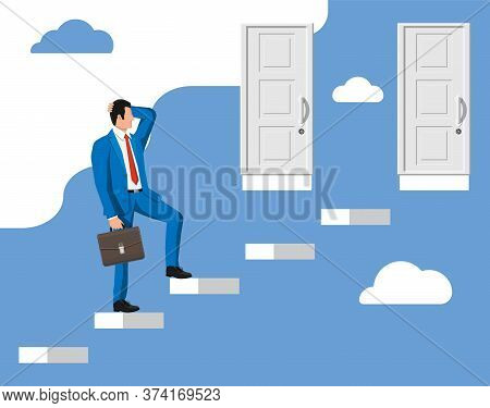 Businessman Standing In Front Of Two Closed Doors. Choice Way. Symbol Of Decision And Choice, Opport