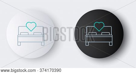 Line Bedroom Icon Isolated On Grey Background. Wedding, Love, Marriage Symbol. Bedroom Creative Icon