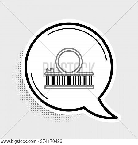 Line Roller Coaster Icon Isolated On Grey Background. Amusement Park. Childrens Entertainment Playgr