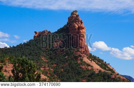 The Beauty Of One Of Sedonas Landmark Sandstone Formations Known As Coffee Pot On A Clear Spring Day