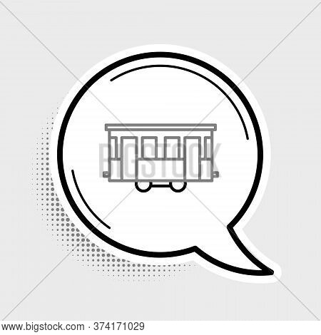 Line Old City Tram Icon Isolated On Grey Background. Public Transportation Symbol. Colorful Outline