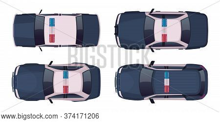 Cartoon Modern Police Car Collection. Vector Object On White, View From Above. Police Sedan And Jeep