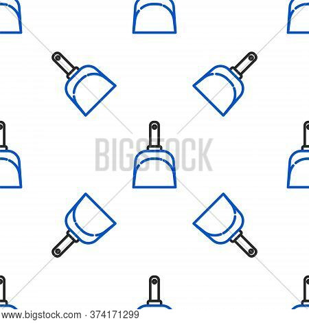 Line Dustpan Icon Isolated Seamless Pattern On White Background. Cleaning Scoop Services. Colorful O