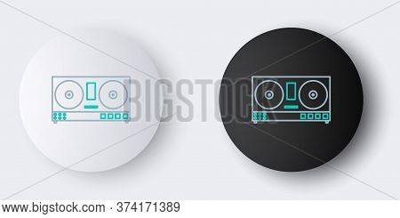Line Dj Remote For Playing And Mixing Music Icon Isolated On Grey Background. Dj Mixer Complete With