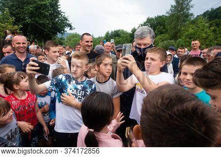 Carpathian Reg. Ukraine - 28 Jun. 2020: Catastrophic Flood In The Western Regions Of Ukraine. Childr