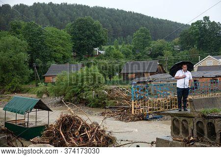 Carpathian Reg. Ukraine - 28 Jun. 2020: Catastrophic Flood In The Western Regions Of Ukraine. Destro