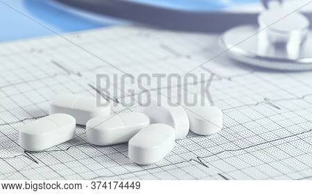 Medical Background. White Capsule Tablets Pills On Heart Cardio Recording. Cardio Ecg Heart Rhythm.