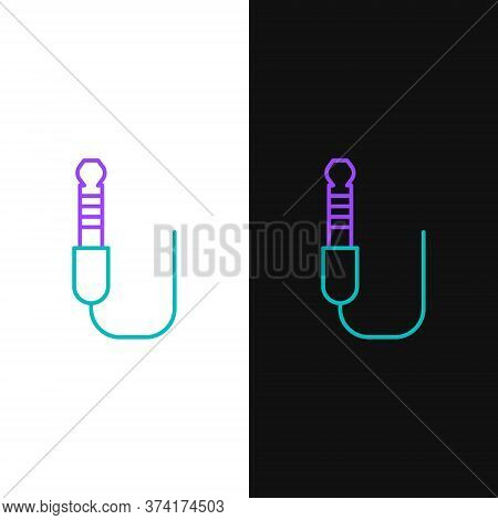 Line Audio Jack Icon Isolated On White And Black Background. Audio Cable For Connection Sound Equipm