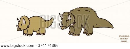 Triceratops Dinosaur Gender Neutral Baby Illustration Clipart. Simple Whimsical Minimal Earthy 2 Ton