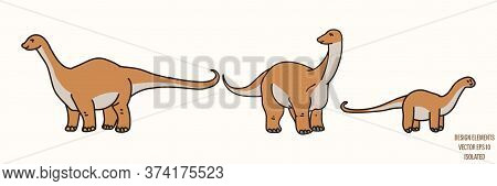 Apatosaurus Dinosaur Gender Neutral Baby Illustration Clipart. Simple Whimsical Minimal Earthy 2 Ton