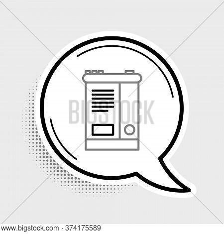 Line Car Battery Icon Isolated On Grey Background. Accumulator Battery Energy Power And Electricity