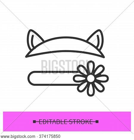 Headband Icon. Funny Linear Pictogram Of Hair Band Beauty Accessory With Decorative Cat Eyes And Flo