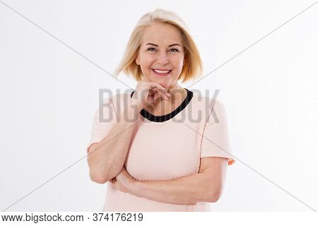 Happy Blonde Woman Close Up Over White Copy Space