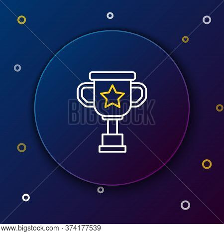 Line Award Cup Icon Isolated On Blue Background. Winner Trophy Symbol. Championship Or Competition T