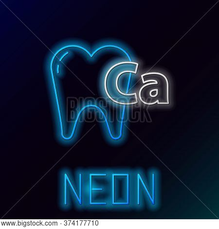 Glowing Neon Line Calcium For Tooth Icon Isolated On Black Background. Tooth Symbol For Dentistry Cl