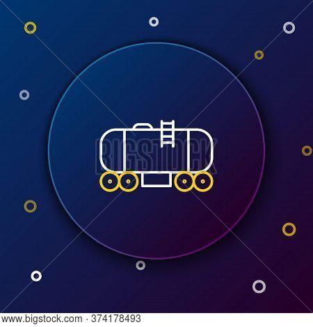 Line Oil Railway Cistern Icon Isolated On Blue Background. Train Oil Tank On Railway Car. Rail Freig