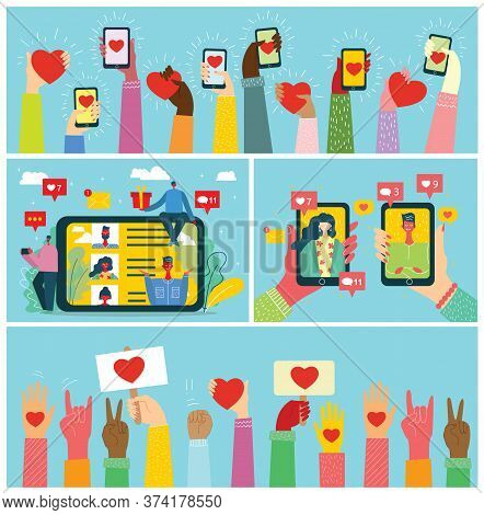 Share Your Love. Vector Valentines Concept On Online Dating Application In Flat Design. Male And Fem