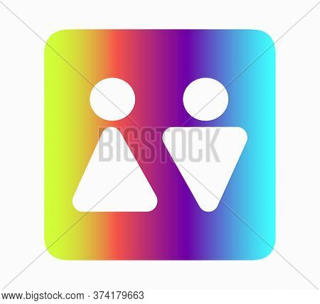 Public Restroom Icon. Toilet For Men And Toilet For Woman - Flat Neon Vector Illustration Isolated