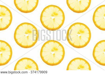 Seamless Pattern From Round Transparent Slices Of Ripe Juicy Yellow Lemon On White Background. Poste