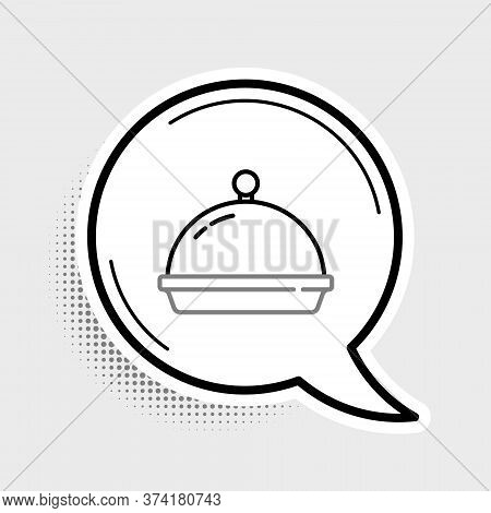 Line Covered With A Tray Of Food Icon Isolated On Grey Background. Tray And Lid. Restaurant Cloche W