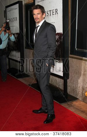 """LOS ANGELES - OCT 30:  Ethan Hawke arrives at the """"Sinister""""  Los Angeles Screening at Landmark Theater on October 30, 2012 in Westwood, CA"""