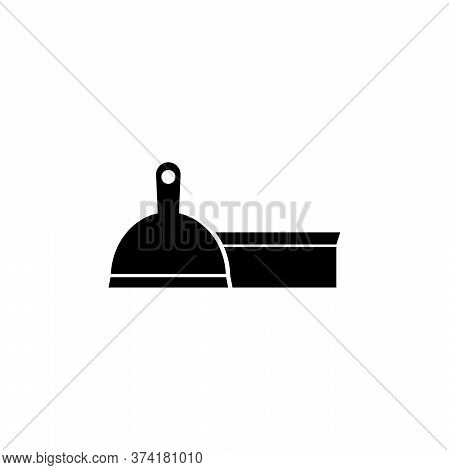 Pet Scoop And Brush, Mop With Dustpan. Flat Vector Icon Illustration. Simple Black Symbol On White B