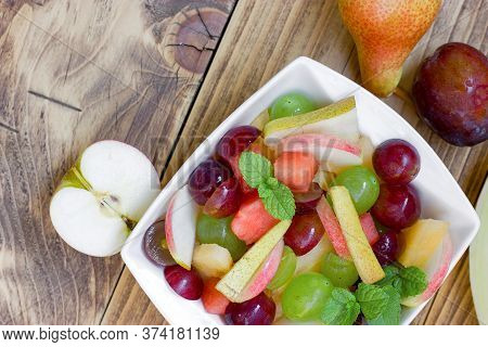 Freshly Prepared Healthy Vegetarian Food Made With Organic Fruit, Fruit Salad