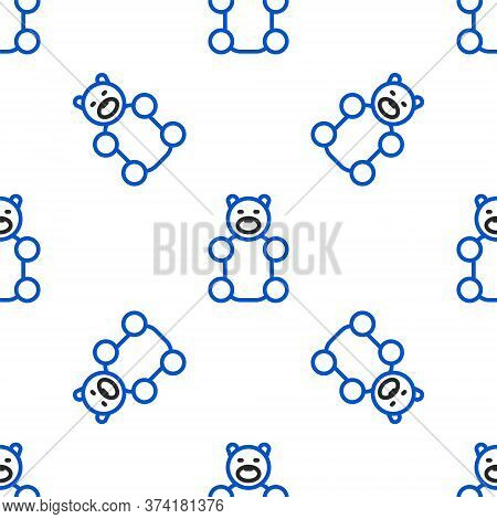 Line Jelly Bear Candy Icon Isolated Seamless Pattern On White Background. Colorful Outline Concept.