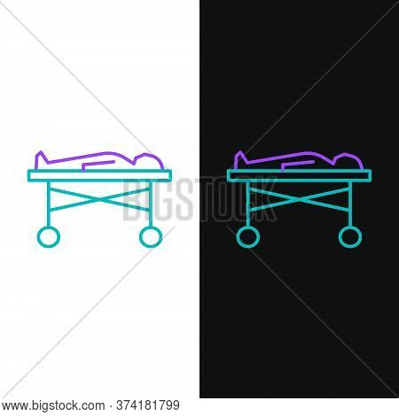 Line Dead Body In The Morgue Icon Isolated On White And Black Background. Colorful Outline Concept.