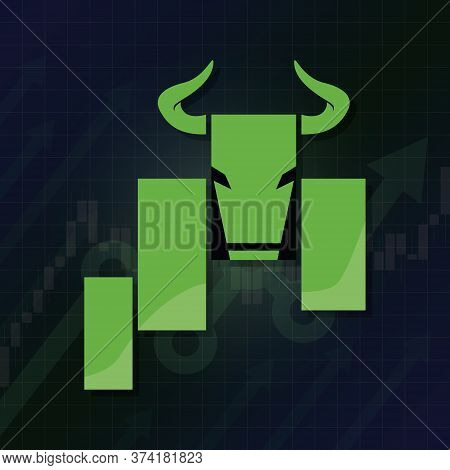 Bullish Symbols On Stock Market Vector Illustration. Fund, Forex Or Commodity Price Charts, On Abstr