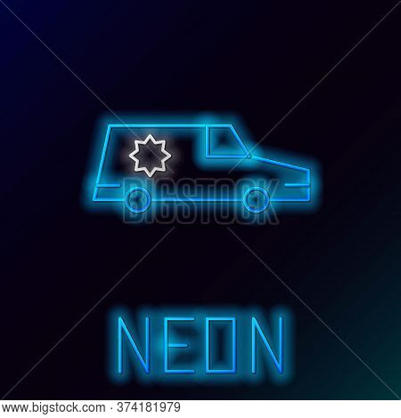 Glowing Neon Line Hearse Car Icon Isolated On Black Background. Colorful Outline Concept. Vector