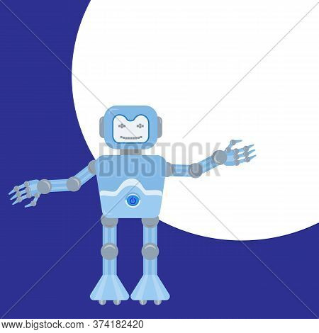 Funny Android Robot Shows A Hand. New Technologies Concept. Place Under The Text, Copy Space. Vector