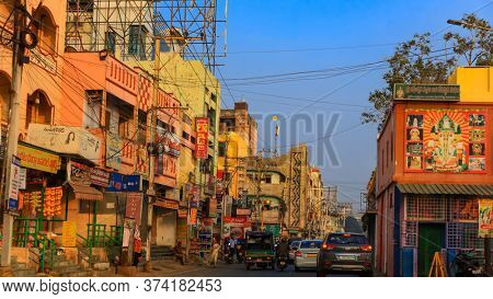 Vijayawada, INDIA - January 6 2019 : Traffic congestion in narrow streets, at Vijayawada, India